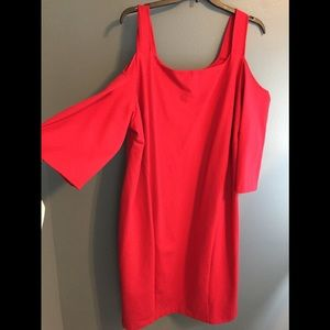 COPY - Lane Bryant Red Ponte Knit Cold Shoulder D…